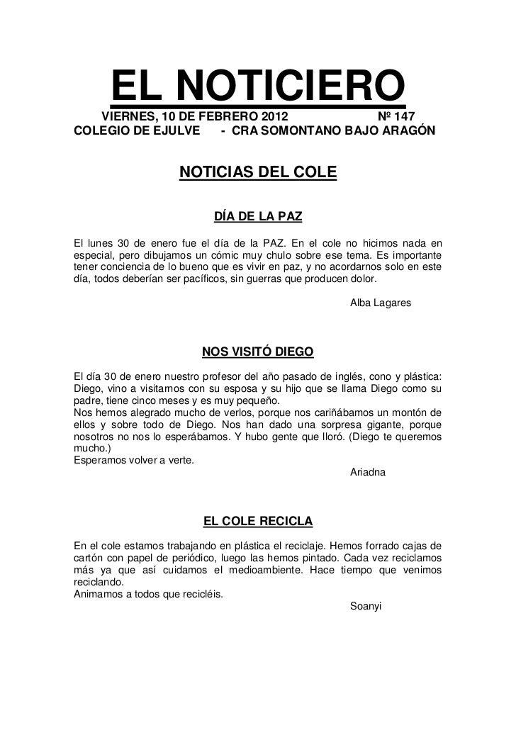 EL NOTICIERO   VIERNES, 10 DE FEBRERO 2012           Nº 147COLEGIO DE EJULVE    - CRA SOMONTANO BAJO ARAGÓN               ...