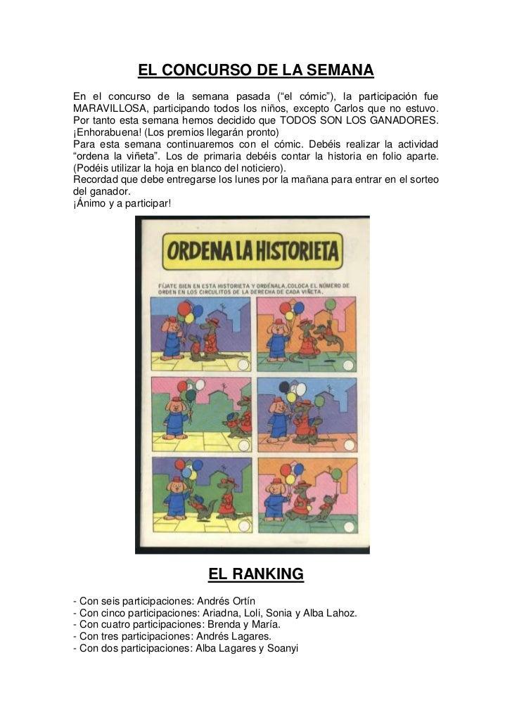 """EL CONCURSO DE LA SEMANAEn el concurso de la semana pasada (""""el cómic""""), la participación fueMARAVILLOSA, participando tod..."""