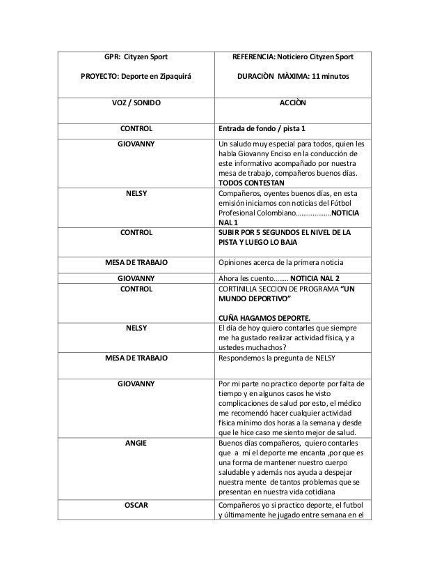 GPR: Cityzen Sport             REFERENCIA: Noticiero Cityzen SportPROYECTO: Deporte en Zipaquirá        DURACIÒN MÀXIMA: 1...