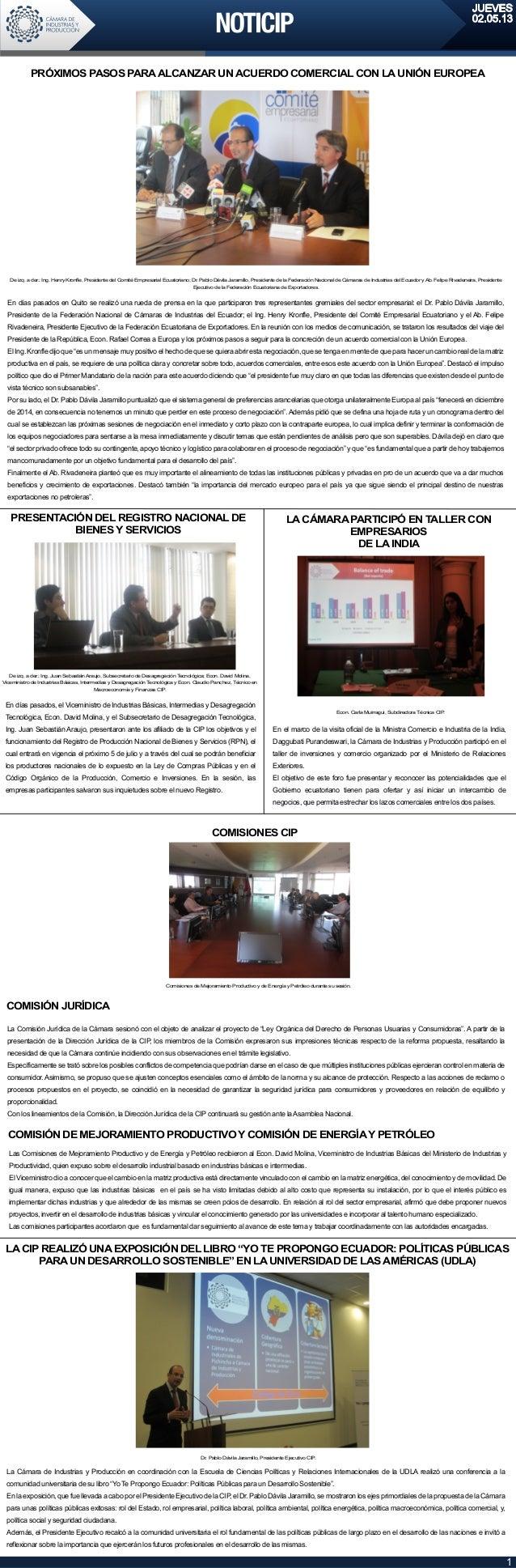 """LACIP REALIZÓ UNAEXPOSICIÓN DEL LIBRO """"YO TE PROPONGO ECUADOR: POLÍTICAS PÚBLICASPARAUN DESARROLLO SOSTENIBLE"""" EN LAUNIVER..."""