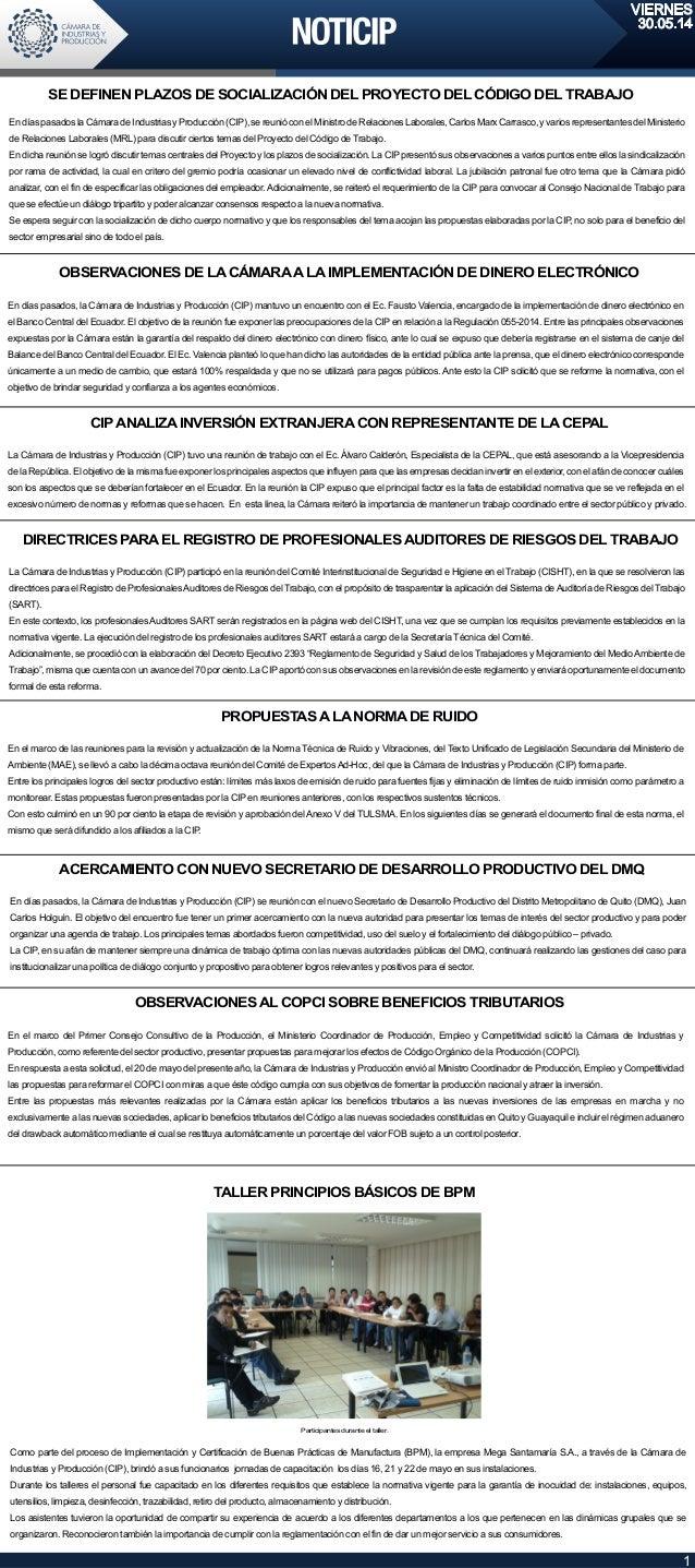VIERNES 30.05.14 EndíaspasadoslaCámaradeIndustriasyProducción(CIP),sereunióconelMinistrodeRelacionesLaborales,CarlosMarxCa...