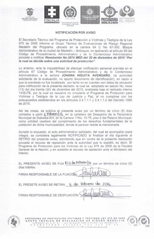 PROGRAMA DE PROTECCIÓN VICTIMAS Y TESTIGOS LEY 975 DE 2005 GRUPO TÉCNICO DE EVALUACIÓN DE RIESGO MEDELLÍN CARRERA ¡;4 C Nº...