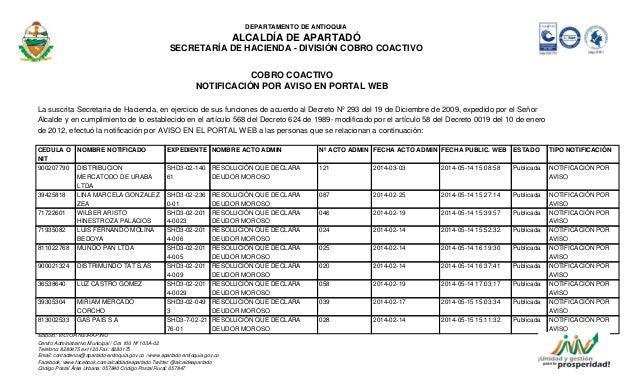 DEPARTAMENTO DE ANTIOQUIA  ALCALDÍA DE APARTADÓ  SECRETARÍA DE HACIENDA - DIVISIÓN COBRO COACTIVO  COBRO COACTIVO  NOTIFIC...
