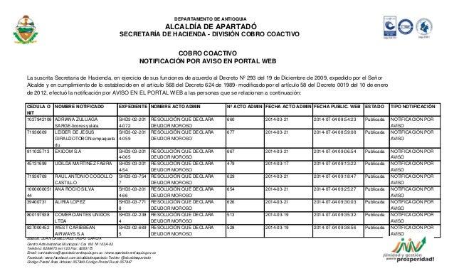 DEPARTAMENTO DE ANTIOQUIA ALCALDÍA DE APARTADÓ SECRETARÍA DE HACIENDA - DIVISIÓN COBRO COACTIVO COBRO COACTIVO NOTIFICACIÓ...