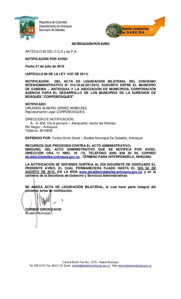 Carrera Murillo Toro Nro. 10-75 – Palacio Municipal Tel. 859 03 00 Fax. 859 01 02 Email: alcaldía@dabeiba-antioquia.gov.co...