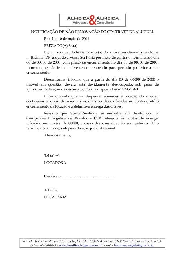 Notificação De Não Renovação De Contrato De Aluguel Brasilia
