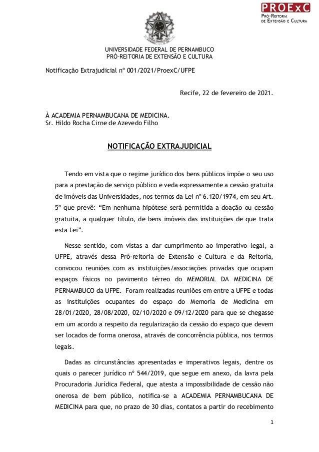 UNIVERSIDADE FEDERAL DE PERNAMBUCO PRÓ-REITORIA DE EXTENSÃO E CULTURA 1 Notificação Extrajudicial nº 001/2021/ProexC/UFPE ...