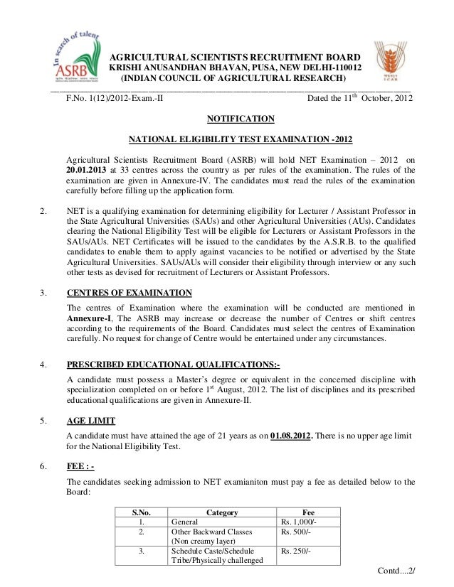 Notification for net 2012