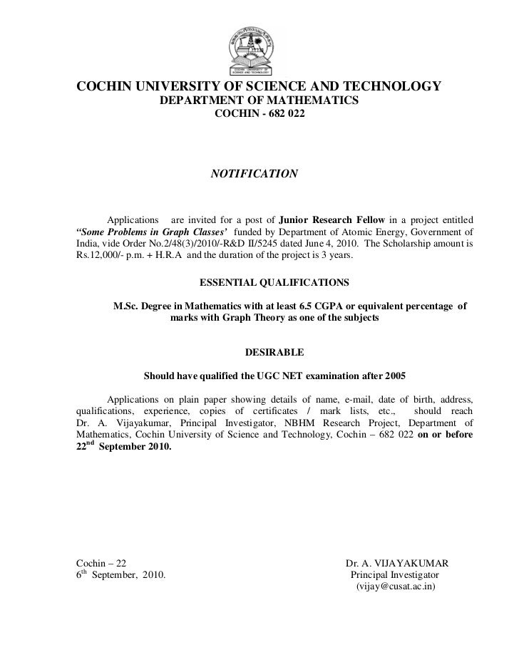 COCHIN UNIVERSITY OF SCIENCE AND TECHNOLOGY                   DEPARTMENT OF MATHEMATICS                               COCH...