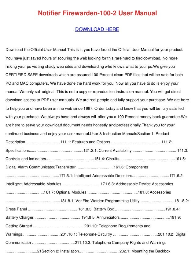 notifier firewarden 100 2 user manual rh slideshare net Notifier Nfw2 100 Manual Notifier Fire Warden 100 Data