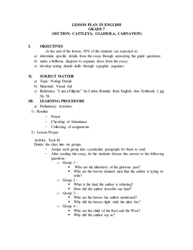 Noting Details Lesson Plan