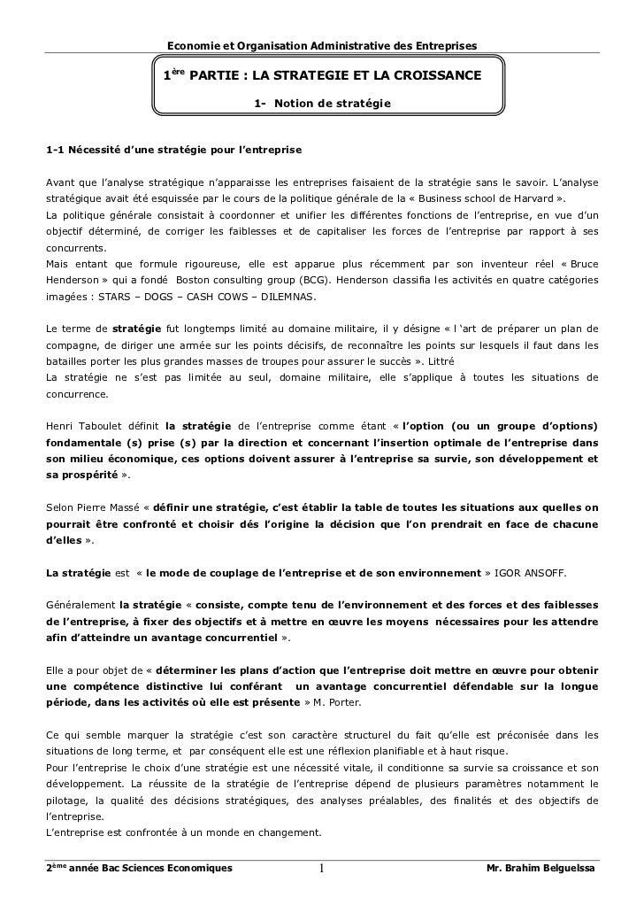 Economie et Organisation Administrative des Entreprises                        1ère PARTIE : LA STRATEGIE ET LA CROISSANCE...