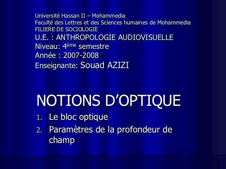 Université Hassan II – MohammediaFaculté des Lettres et des Sciences humaines de MohammediaFILIERE DE SOCIOLOGIEU.E. : ANT...