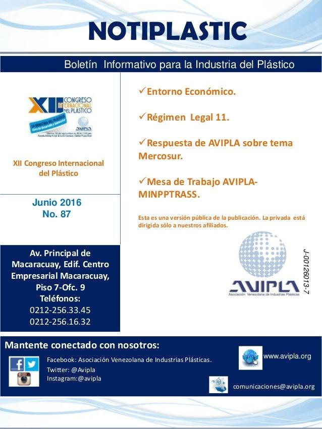 NOTIPLASTIC Boletín Informativo para la Industria del Plástico Mantente conectado con nosotros: www.avipla.orgFacebook: As...