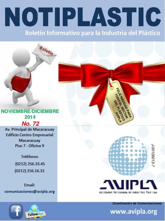 Coordinación de Comunicaciones  NOVIEMBRE/DICIEMBRE  2014  No. 72  J-00126013-7