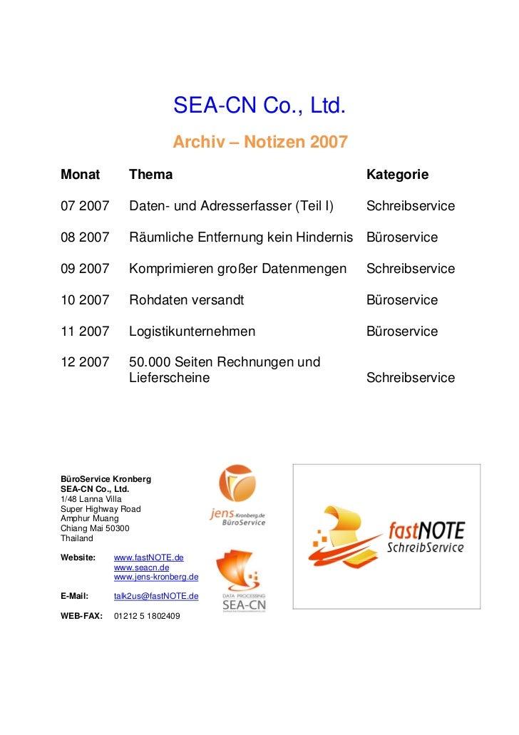 SEA-CN Co., Ltd.                        Archiv – Notizen 2007Monat          Thema                                Kategorie...