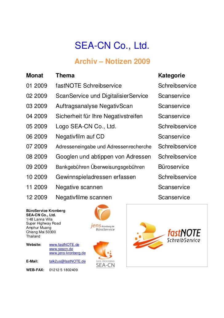 SEA-CN Co., Ltd.                        Archiv – Notizen 2009Monat          Thema                                   Katego...