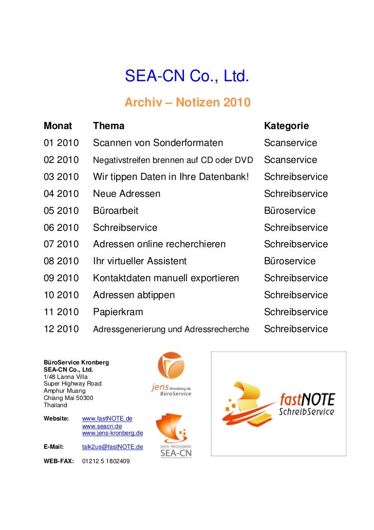 SEA-CN Co., Ltd.                        Archiv – Notizen 2010Monat          Thema                                     Kate...