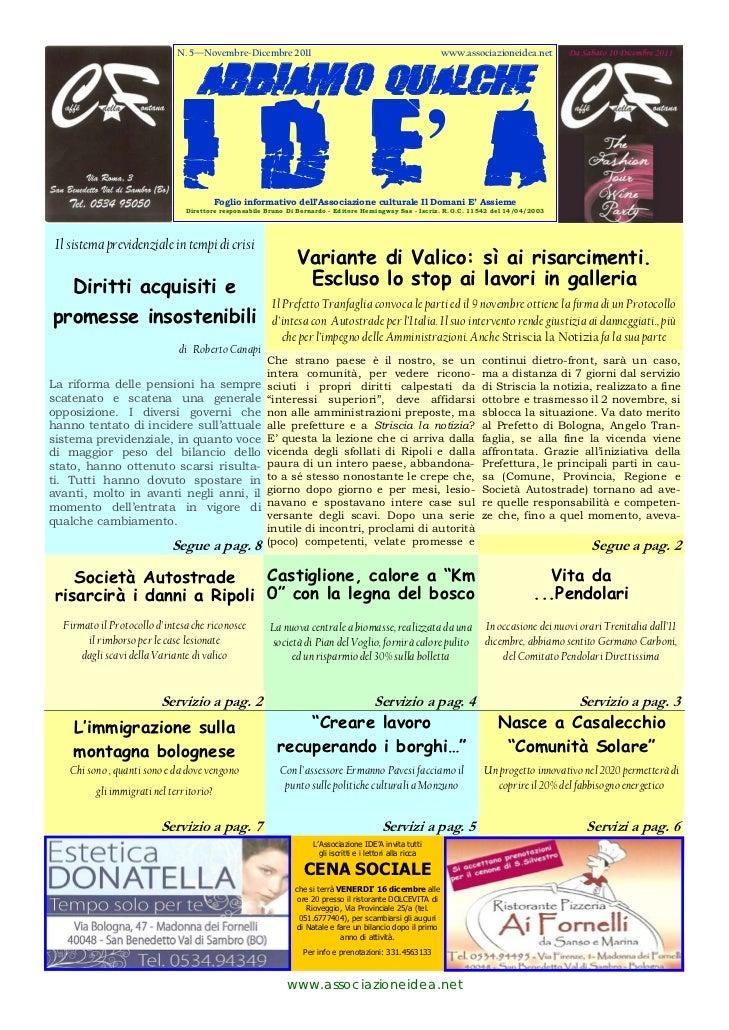 N. 5—Novembre-Dicembre 2011                                                    www.associazioneidea.net                   ...