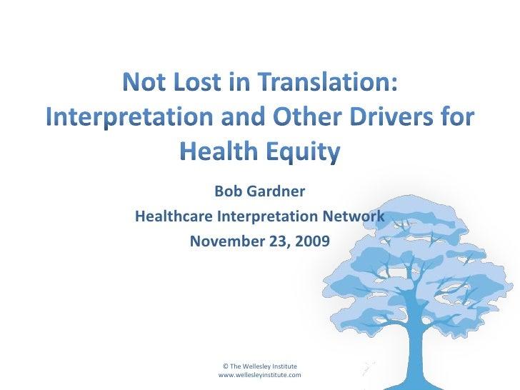 Bob Gardner Healthcare Interpretation Network        November 23, 2009                 © The Wellesley Institute          ...