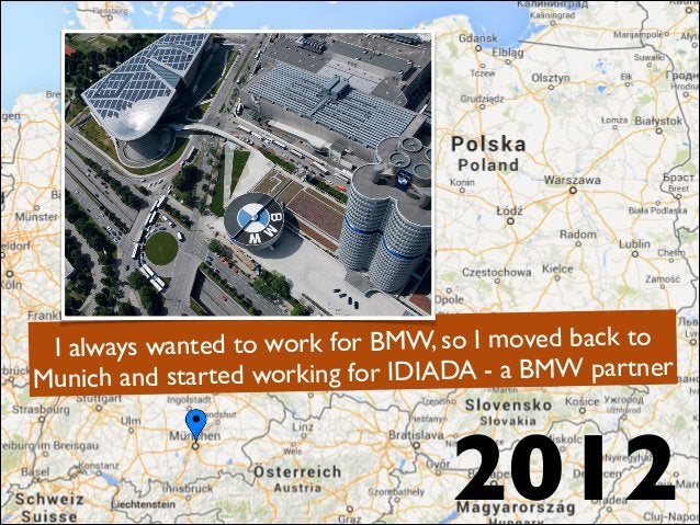 2012 I always wanted to work for BMW, so I moved back to Munich and started working for IDIADA - a BMW partner