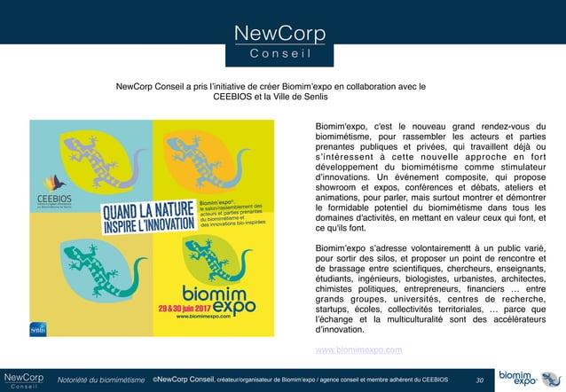 Notoriété du biomimétisme ©NewCorp Conseil, créateur/organisateur de Biomim'expo / agence conseil et membre adhérent du CE...