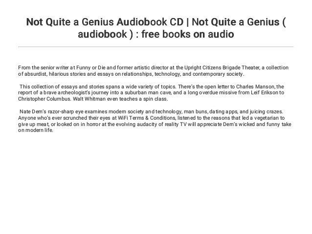 Not Quite a Genius Audiobook CD | Not Quite a Genius
