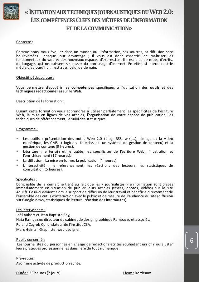 «INITIATION AUXTECHNIQUESJOURNALISTIQUES DUWEB2.0:LESCOMPÉTENCESCLEFS DESMÉTIERSDEL'INFORMATIONET DELACOMMUNICATION»Contex...