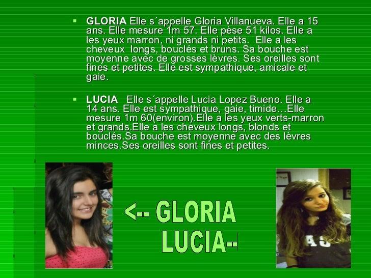 <ul><li>GLORIA  Elle s´appelle Gloria Villanueva. Elle a 15 ans. Elle mesure 1m 57. Elle pèse 51 kilos. Elle a les yeux ma...