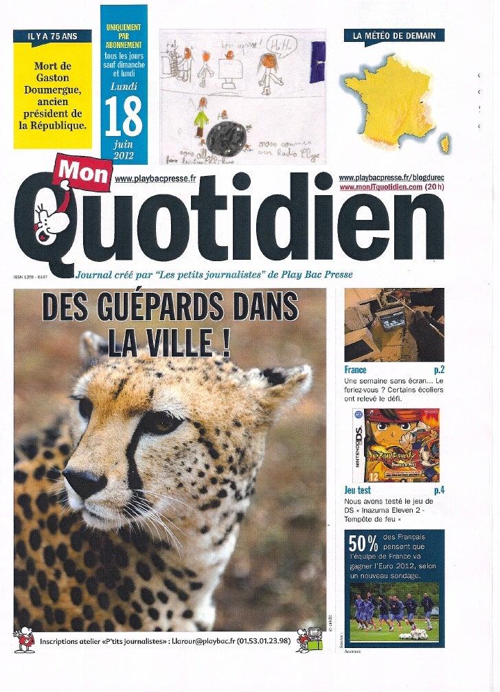 """Notre exemplaire de """"Notre Quotidien"""" ! (Classe_Acou)"""