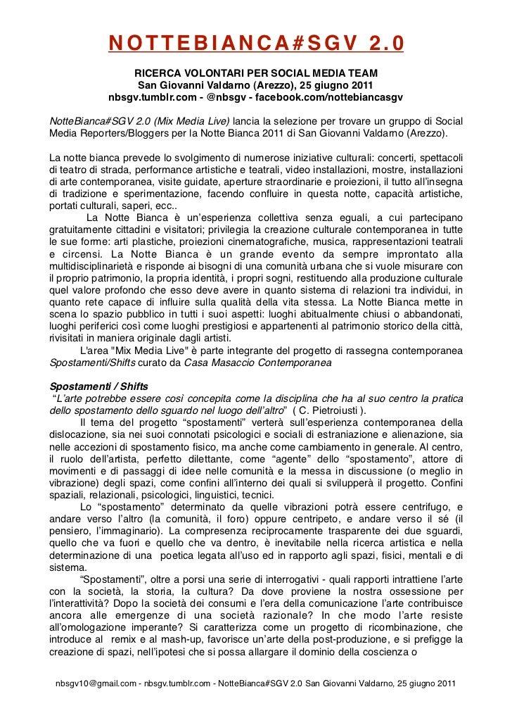NOTTEBIANCA#SGV 2.0                  RICERCA VOLONTARI PER SOCIAL MEDIA TEAM                   San Giovanni Valdarno (Arez...