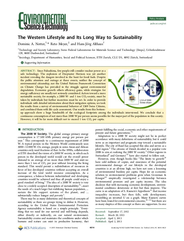 The Western Lifestyle and Its Long Way to Sustainability Dominic A. Notter,†, * Reto Meyer,‡ and Hans-Jörg Althaus† † Tec...