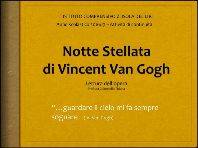 Notte stellata di v van gogh lettura dell 39 opera for Notte di van gogh