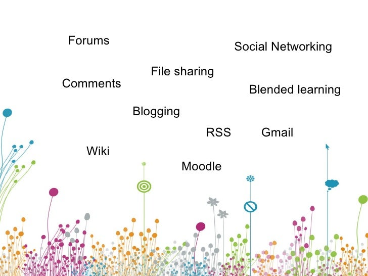 Blogging Wiki Blended learning Moodle File sharing Forums Comments Gmail Social Networking RSS