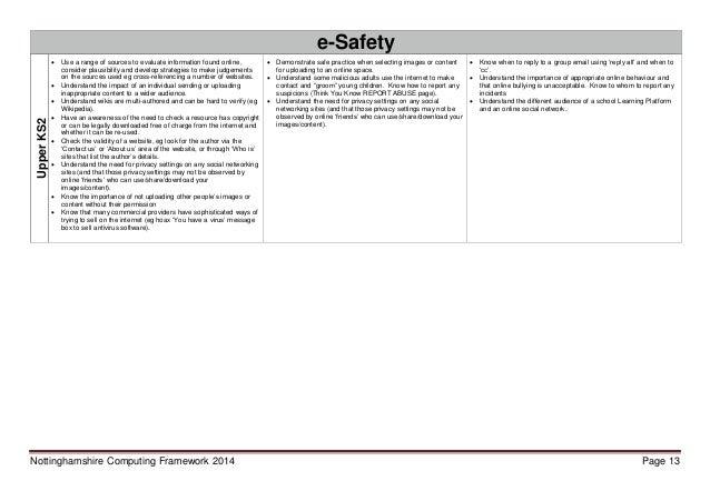 Nottinghamshire computing framework 2014