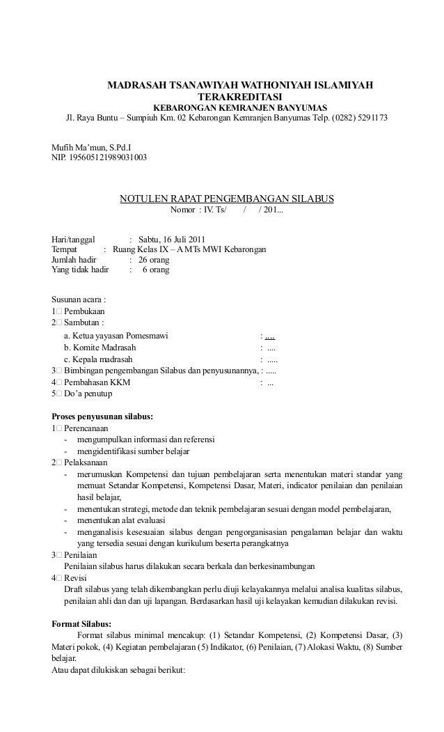 Contoh Notulen Rapat Pengembangan Kurikulum 2013 Sd Bagikan Contoh