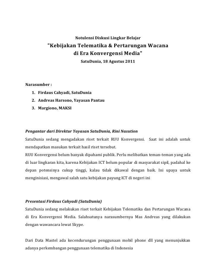 "Notulensi Diskusi Lingkar Belajar            ""Kebijakan Telematika & Pertarungan Wacana                     di Era Konverg..."