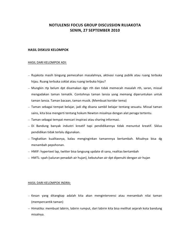 NOTULENSI FOCUS GROUP DISCUSSION RUJAKOTA<br />SENIN, 27 SEPTEMBER 2010<br />HASIL DISKUSI KELOMPOK<br />HASIL DARI KELOMP...