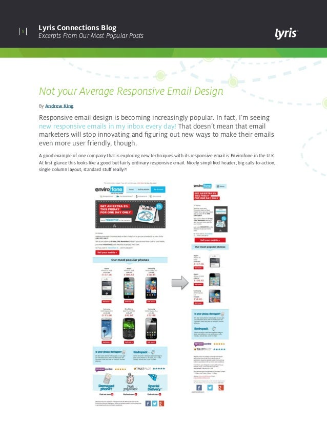 1 Lyris Connections Blog Excerpts From Our Most Popular Posts Not your Average Responsive Email Design By Andrew King Resp...