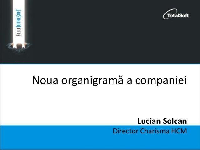 Noua organigramă a companiei Lucian Solcan Director Charisma HCM