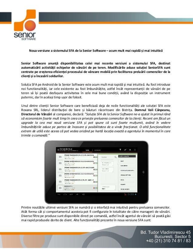 Noua versiune a sistemului SFA de la Senior Software – acum mult mai rapidă și mai intuitivă  Senior Software anunță dispo...