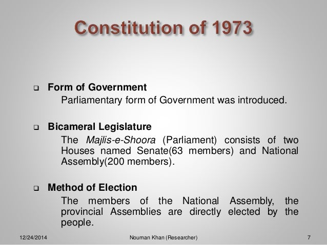 1973 constitution President zia ul-haq announced saturday that pakistan's suspended 1973 constitution will be revived and amended to make himself an unchallenged head of state, but he promised a gradual end to 7 1/2.