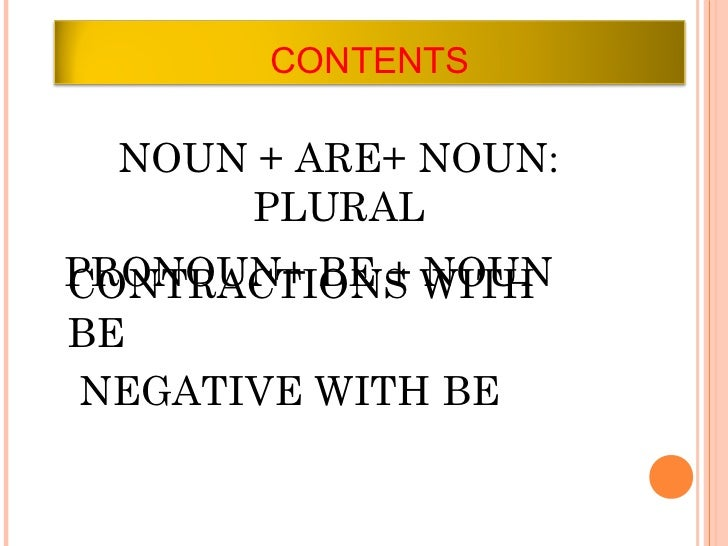 CONTENTS NOUN + ARE+ NOUN:     PLURALPRONOUN+ BE + WITHCONTRACTIONS NOUNBE NEGATIVE WITH BE