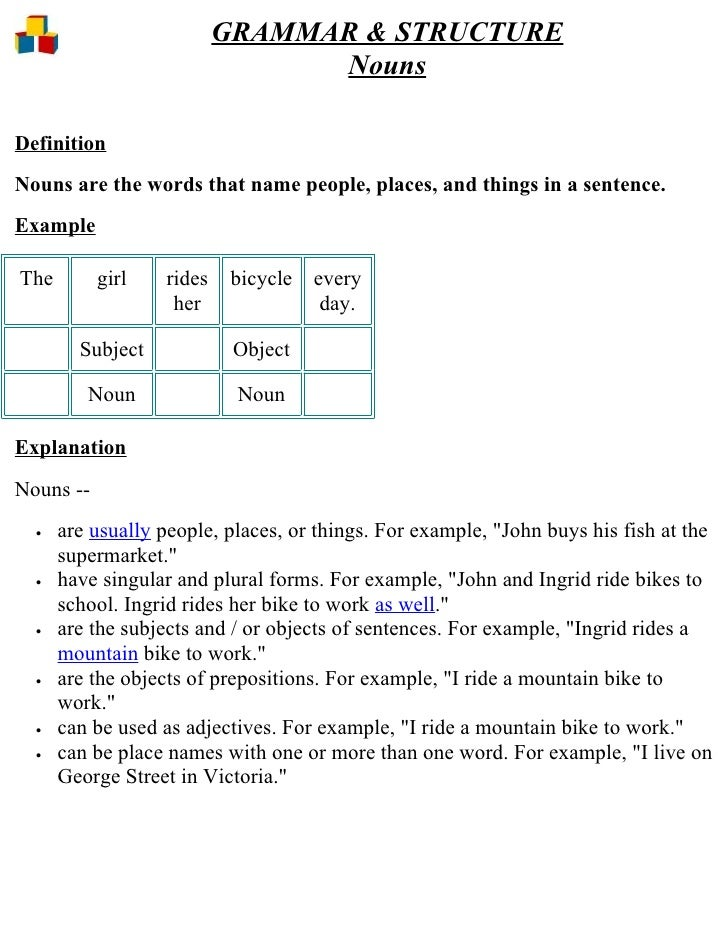 GRAMMAR & STRUCTURE                                 Nouns  Definition Nouns are the words that name people, places, and th...