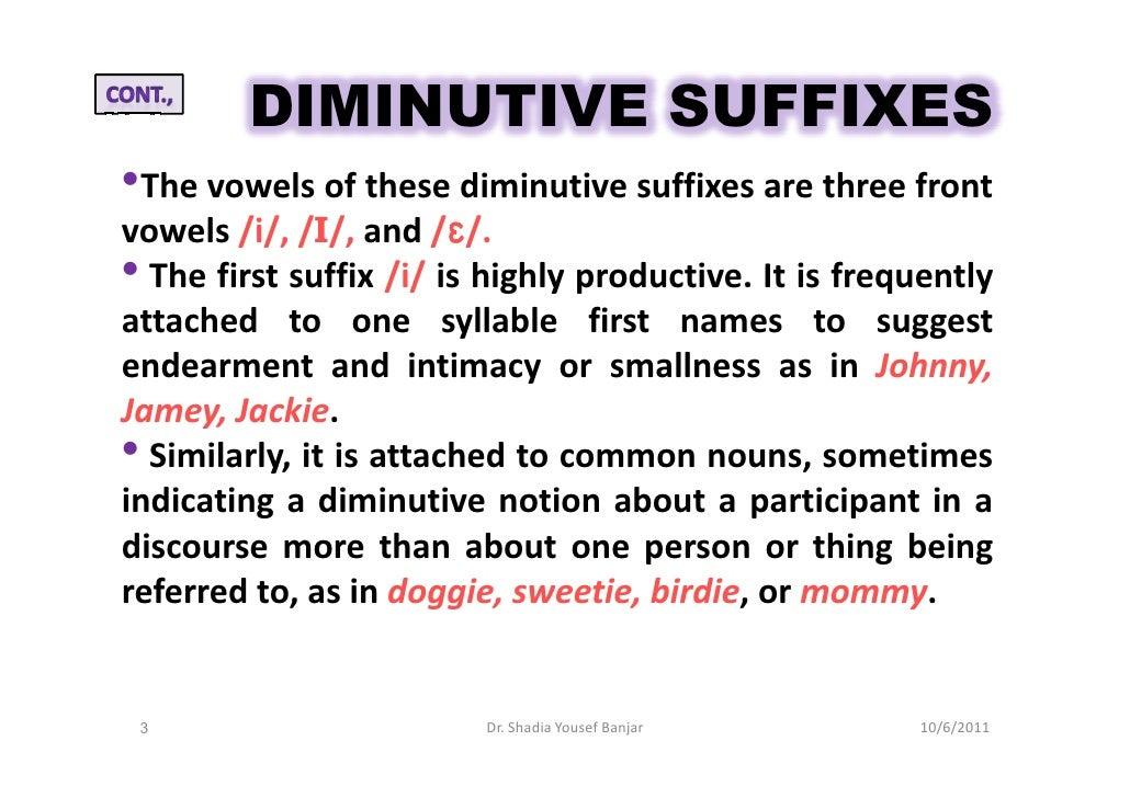 Noun Diminutive Forms- Dr. Shadia Y. Banjar