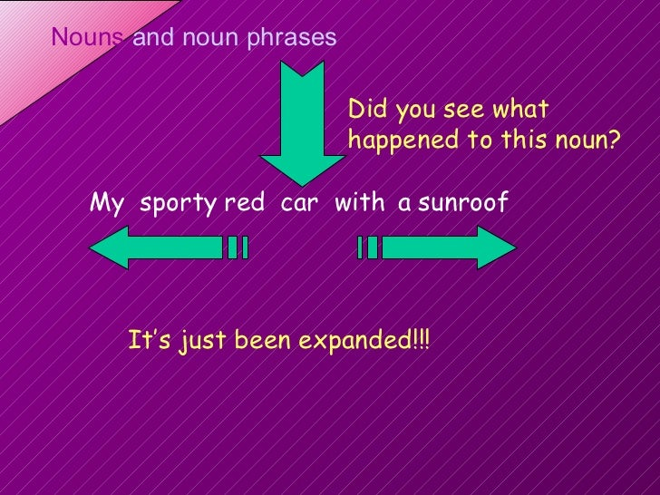 car red with a sunroof sporty My Did you see what happened to this noun? It's just been expanded!!!