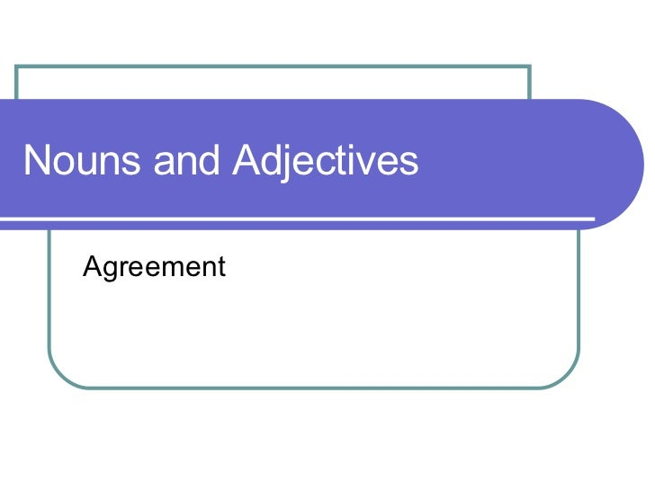 Nouns and Adjectives Agreement