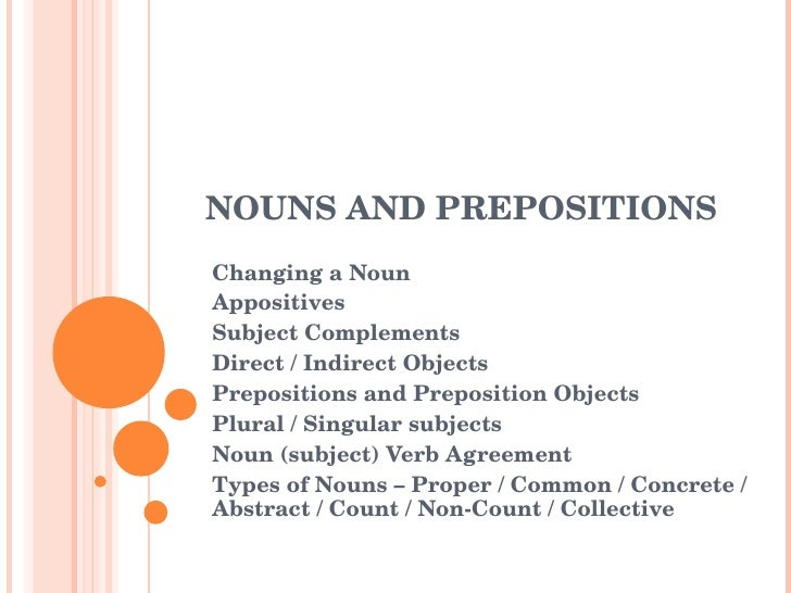 NOUNS AND PREPOSITIONS  Changing a Noun Appositives Subject Complements Direct / Indirect Objects Prepositions and Preposi...