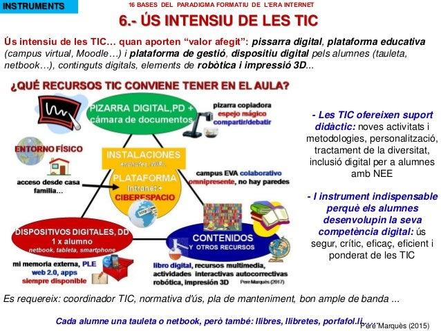 """Ús intensiu de les TIC… quan aporten """"valor afegit"""": pissarra digital, plataforma educativa (campus virtual, Moodle…) i pl..."""