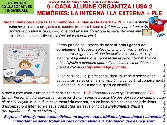 Cada alumne organitza i usa 2 memòries: la interna i la externa + PLE. La memòria externa consisteix en glossaris, resums ...